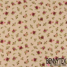 Toile Lorraine 100% coton Impression Petites roses Prune fond Lin