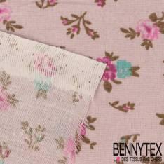 Toile Lorraine 100% coton Impression Petites roses Turquoises fond Parme