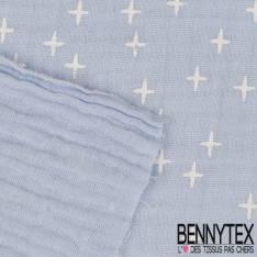 Coton Double Gaze Ciel Motif Petites Etoiles Blanches