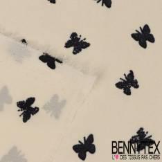 Crêpe Polyester Léger Motif Papillon Noir fond Ecru