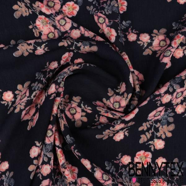 Crêpon Viscose Imprimé Ribambelle de Fleurs de Cerisier fond Navy