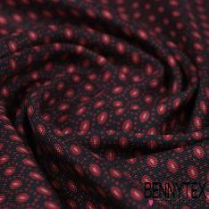 Carré de Soie Twill N°108: Motif Imprimé de Pyjama Rouge fond Nuit