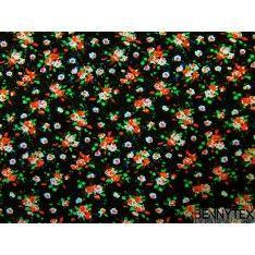 Coton imprimé fleur rouge blanche