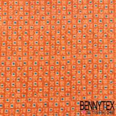 Carré de Soie Satin N°113 : Motif Damier avec Fleur et Petit Carré Bleu fond Orange Brûlée