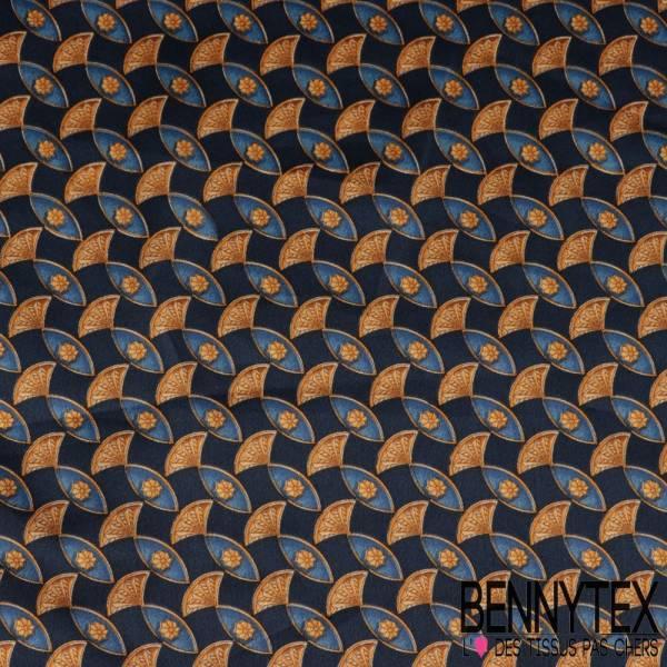 Carré de Soie Satin N°122 : Motif Poisson Stylisé Bleu et or fond Marine