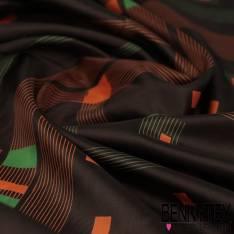 Carré de Soie Satin N°123 : Motif Seventies Géométrique Orange et Vert fond Choco