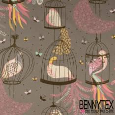 Crétonne 100% coton Impression Motif Cage avec Oiseau du paradis fond Gris Souris