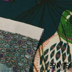 Crétonne 100% coton Impression Motif Cage avec Oiseau du paradis fond Pétrole