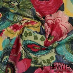Crétonne 100% coton Impression Motif Grosse Fleur Multicolore fond Multicolore