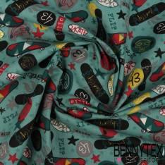 Crétonne 100% coton Impression Motif Planche de Skate fond Bleu Charrette