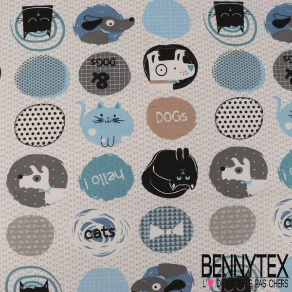 Crétonne 100% coton Impression Motif Chien Chat Bleu Gris fond géométrique Blanc et Gris