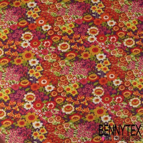 Crétonne 100% coton Impression Motif Champs de Fleurs Multicolores fond Violet