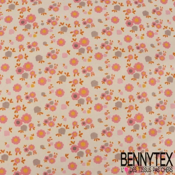 Crétonne 100% coton Impression Motif Petites Fleurs Fantaisie fond Ecru