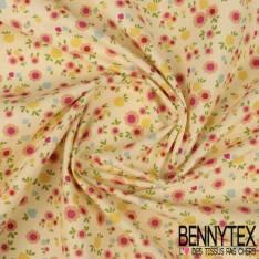 Crétonne 100% coton Impression Motif Petites Fleurs Fantaisie fond Jaune de Naple