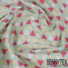 Toile Lorraine 100% coton Impression Motif Triangle Menthe Rouge Blanc