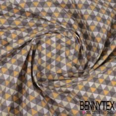 Toile Lorraine 100% coton Impression Motif Triangle Gris Blanc Moutarde