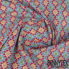 Toile Lorraine 100% coton Impression Motif Aztèque multicolore fond Blanc