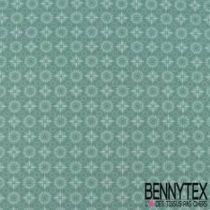 Toile Lorraine 100% coton Impression Motif Tournesol Stylisé fond Vert Poireau