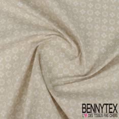 Toile Lorraine 100% coton Impression Motif Tournesol Stylisé fond Mastique