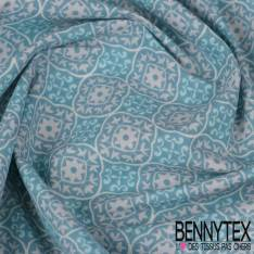 Toile Lorraine 100% coton Impression Motif Arabesque Blanche et Turquoise fond Lagon