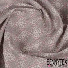 Toile Lorraine 100% coton Impression Motif Arabesque Perle et Rose fond Blanc