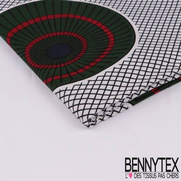 Wax Africain N° 311: Motif Ombrelle vue de Dessus vert Bouteille fond Résille
