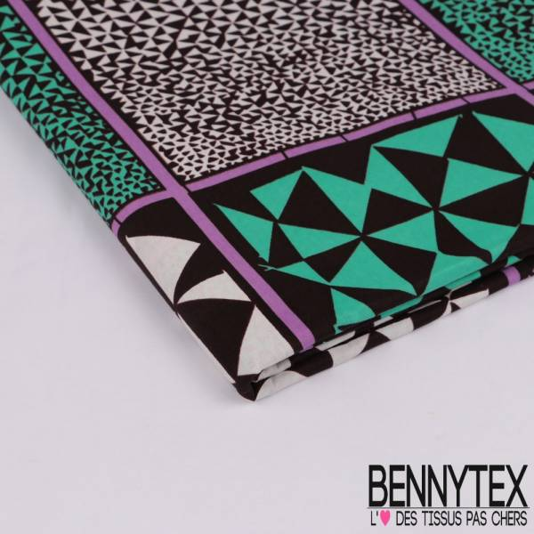 Wax Africain N° 312: Motif Petit Triangle Lilas et Vert Glacé