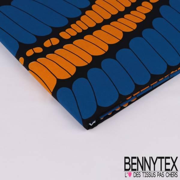 Wax Africain N° 314: Motif Guirlande Psychiadéliques Orange et Bleu roi fond Nuit