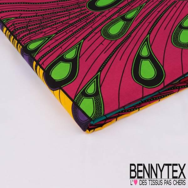 Wax Africain N° 317: Motif Damier avec Plume de paon stylisée multicolore