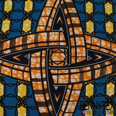 Wax Africain N° 319: Motif Etoile 4 branches effet 3D marbré orange fond petits motifs géométrique bleu et jaune