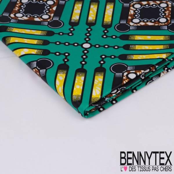 Wax Africain N° 320: Motif Circuit imprimé Jaune marbré cappucino fond émeraude