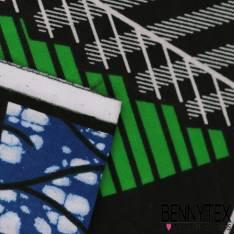 Wax Africain N° 321: Motif Géométrique effet 3D Vert Pomme fond marbré bleu roi