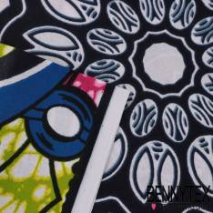 Wax Africain N° 322: Motif Mandala et corne d'abondance fond marbré fushia et anis