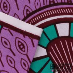 Wax Africain N° 323: Motif Guirlande de Toupie Emeraude fond Lilas