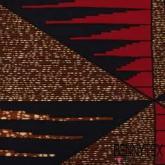 Wax Africain N° 326: Motif Triangle fond strié marbré cappuccino