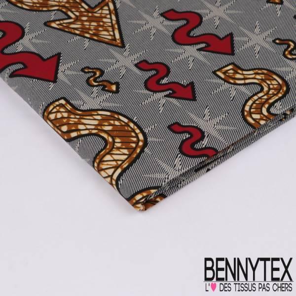 Wax Africain N° 329: Motif Petites Flèches zigzag fond étoile striée