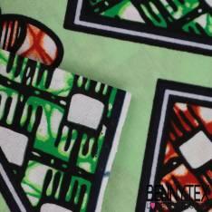 Wax Africain N° 330: Motif Petites fleurs effet 3D fond losange Vert et orange