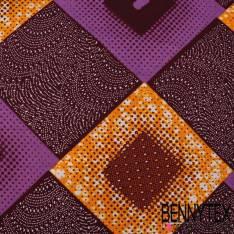 Wax Africain N° 336: Motif Losange Jaune Or Bordeaux Byzantin à effet