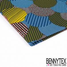 Wax Africain N° 345: Motif Nuée de bulles striées multicolores