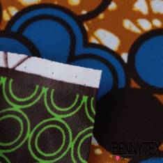 Wax Africain N° 353: Double Base Motif Bubble Bleu Roi fond Marbré Ocre
