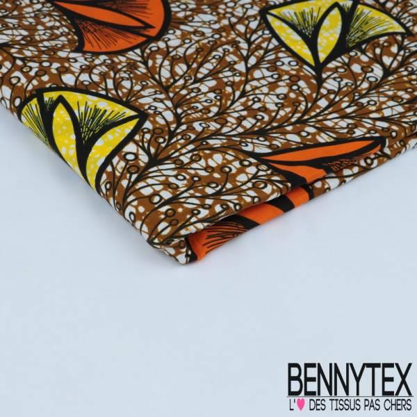 Wax Africain N° 361: Motif Grosse Tulipe Stylisées jaune et orange fond marbré ocre
