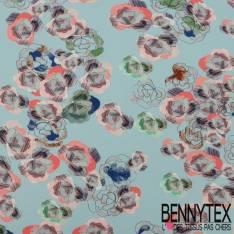 Polyester Elasthanne Imprimé Rose Graphique fond Bleu Glacier
