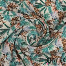 Crêpe Polyester Semi Fluide Motif ttigre dans la Jungle fond Blanc
