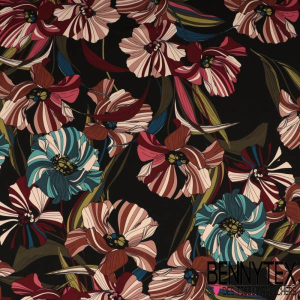 Microfibre Imprimé à Fleurs Striées Multicolores Sur Fond Noir