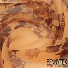 Mousseline de Soie Imprimée Branche avec Feuilles effet sépia aquarelle fond Aurore