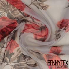 Mousseline de Soie Imprimée Grande Tulipe Crayonnée Rouge fond Perle