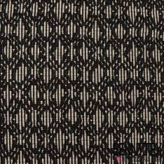 Coton Tissé Motif Graphique Noir Crème Ecru