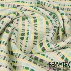Coton Polyester Natté Tissé Ton Vert et Bleu Graphique Fond Blanc