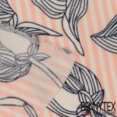 Polyester Elasthanne Marinière avec Grosse Rose