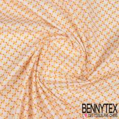 Coton Impression Motif Moulin à vent Orange et Jaune fond Ecru